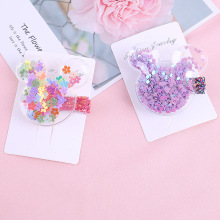New Girls Hair Clips Childrens Korea Transparent Sequins Flowing Sofa Cute INS Wind Side
