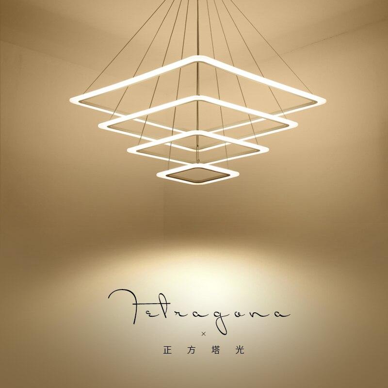 Modern 4 négyzetgyűrű LED Függőlámpák Nappali szoba Étkező - Beltéri világítás
