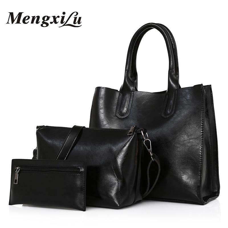 MENGXILU Oil Wax Leather Women Bag High Quality 3 Sets Composite Bag Women Handbags Large Capacity Casual Tote Bag With Purse mengxilu oil wax leather women bag high