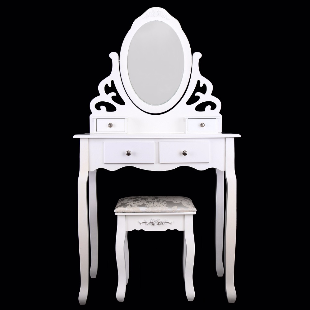(Ship from Germany) Home White Dressing Table Oval Mirror with Stool Set (4 Drawer) Bedroom Makeup Desk ship from germany home white dressing table with mirror and stool make up dresser set