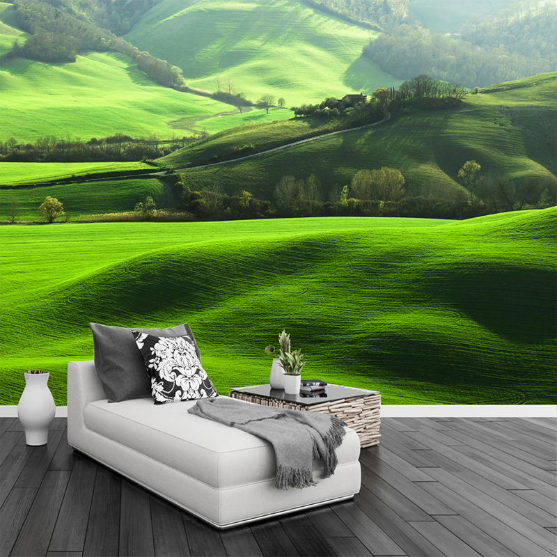HD Lawn Mountain Natural Scenery Photo Wall Mural TV Living Room Sofa Background Home Decoration Seamless 3D Wallpaper Murals