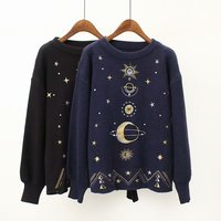 Women Fashion Sweater Moon Star Embroidery Knitting Sweaters O Neck Winter Warm Pullover Sweater Casual Girls Tops Sweater