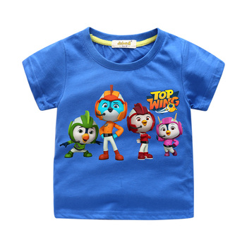 Boys Girls Cartoon Top Wing Tshirts Children Summer Short Sleeve Tees Top Kids Cotton T-shirts Baby Casual T Shirt Clothes WJ185