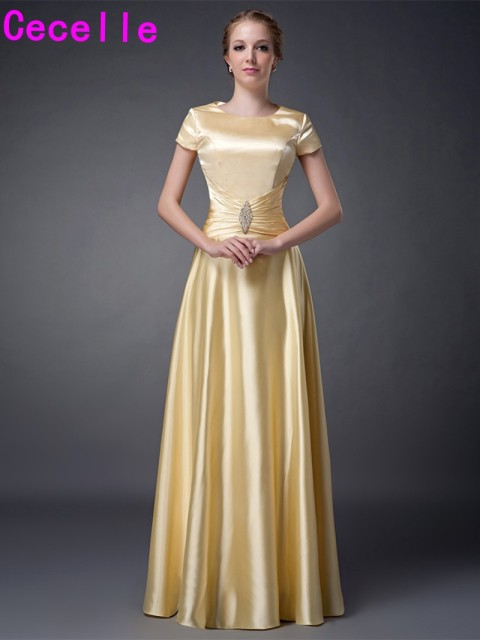2017 Simple Modest A Line Yellow Plus Size Mother Of The Bride