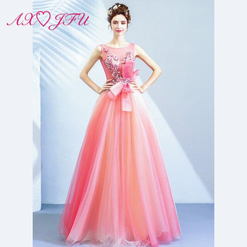 AXJFU princesse romantique cerise pollen mariée rose dentelle robe de soirée o cou fête d'anniversaire grand arc rose robe de soirée 10060