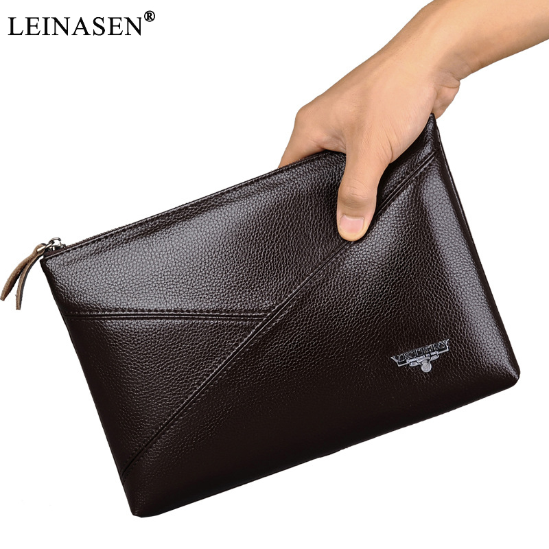 New Trend Casual Business Day Clutch Men PU Leather handbag Vintage Long Designer Famous Brand Zipper Purse Small Shoulder Bags