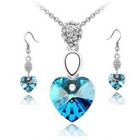 Newly Women Crystal Pendant 7colors Necklace Earrings Party New Jewelry sets