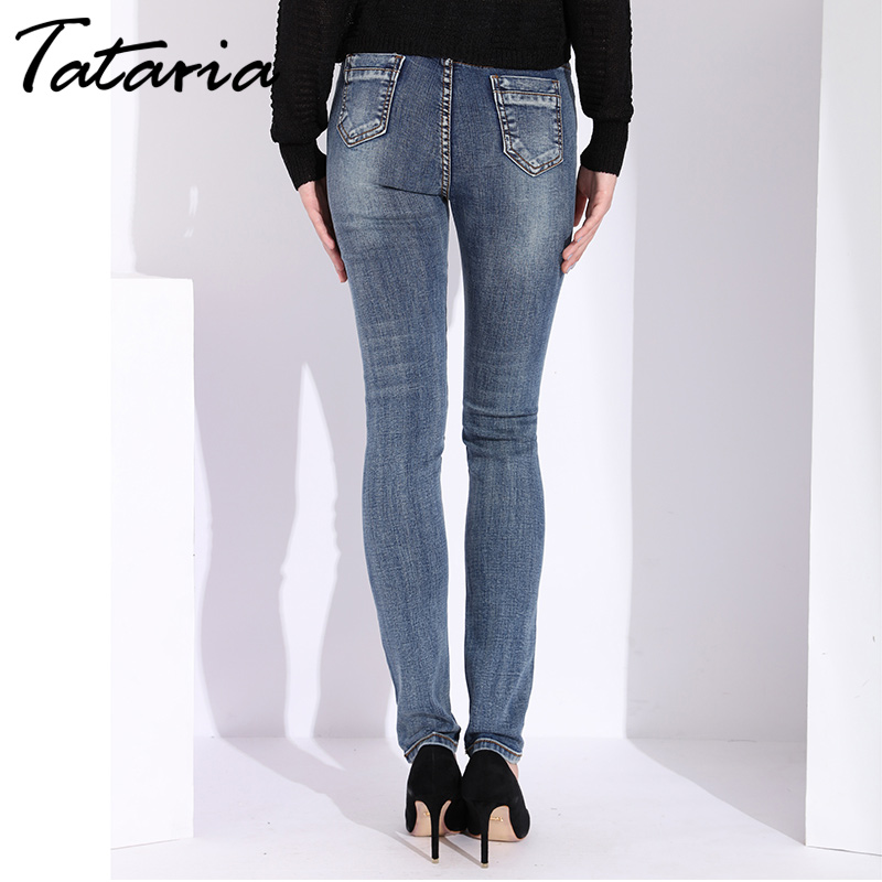 Tataria Skinny Slim Jeans For Women Vintage Style Black Women s Jeans Female Denim Pencil Pants
