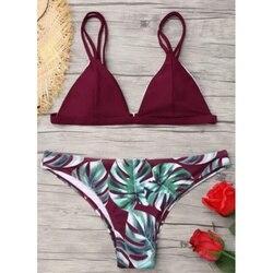 191a83af0 Sexy Swimwear Mulheres Conjunto Biquíni Impressão Deixa Push Acolchoado  Swimsuit Cintura Baixa