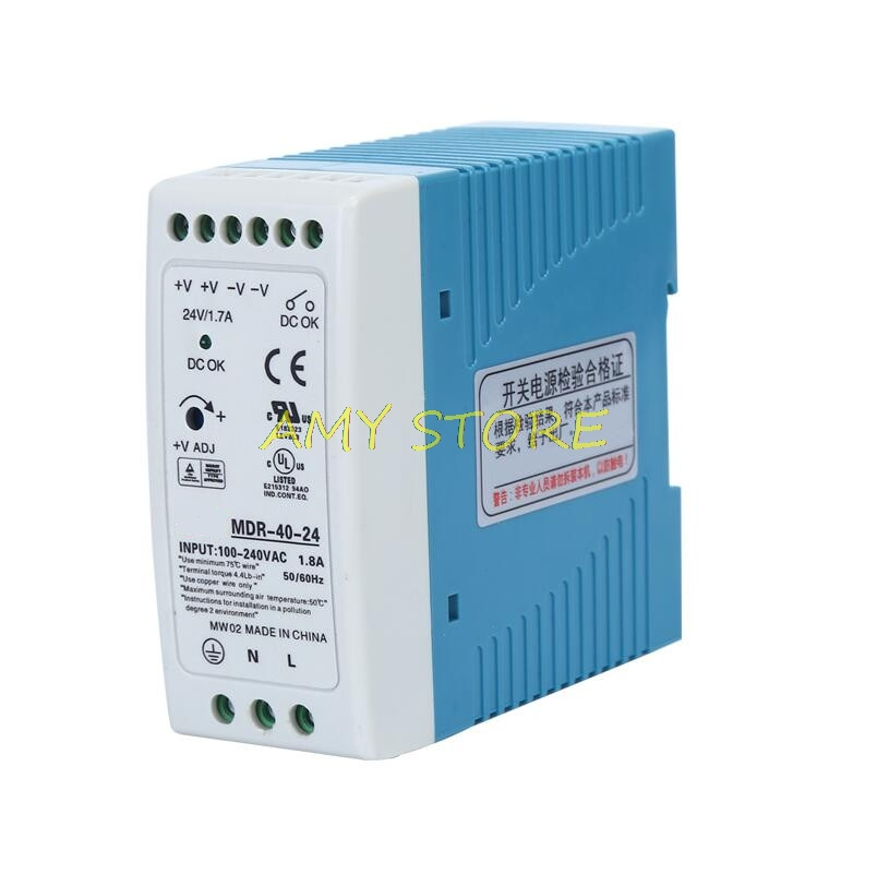 MDR-40 40W Single Output <font><b>5V</b></font> 12V 15V 24VDC Din Rail Switching <font><b>Power</b></font> <font><b>Supply</b></font> 85-264VAC/120-370VDC Input image