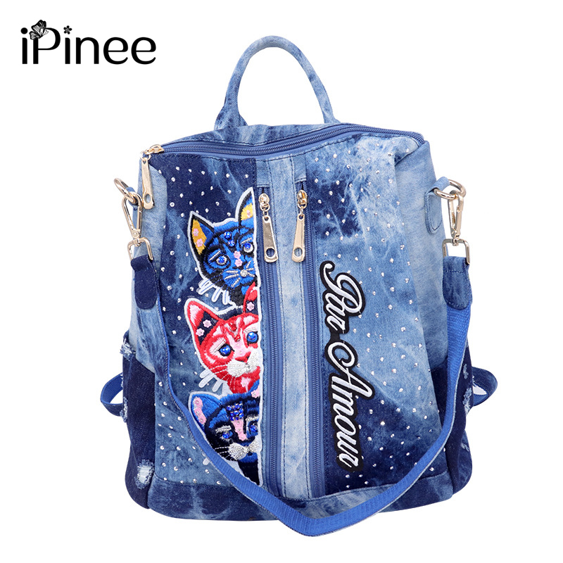 iPinee women backpack washed denim school bag for girls teenagers multifunctional travel backpack ladies embroidery shoulder