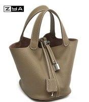 100 Genuine Leather Guaranteed Cowhide Women Handbag Brand Lady Lock Bags Female Handbag Bucket Bags