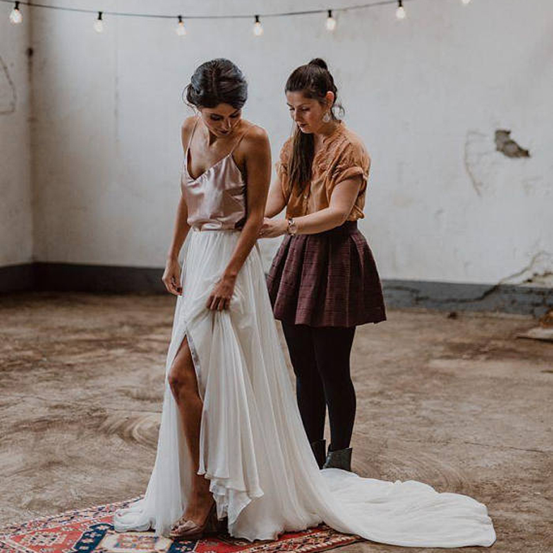 87fd0727aee83 US $37.8 10% OFF|Elegant Long Maxi Women Bridal Skirts Chiffon Floor Length  Split Side White Boho Beach Garden Wedding Party Skirts Custom Made -in ...