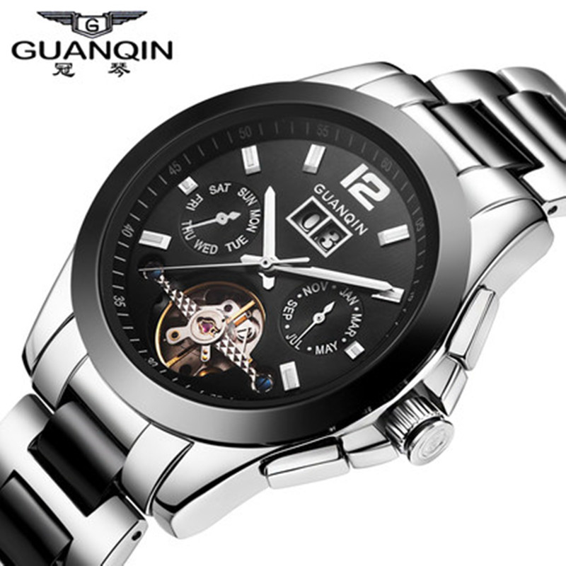 ФОТО Brand GUANQIN Watch Men Ceramic Watch Waterproof 30m Mechanical Watches Luxury Brand Men's Big Dial Designer Male Wristwatches