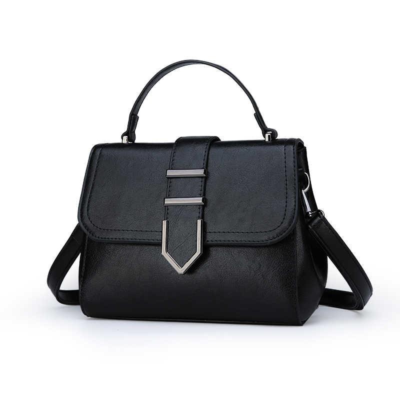 Toposhine 2018 Musim Gugur Baru Top Kualitas Pu Kulit Tas Tangan Wanita Padat Vintage Desain untuk Wanita Perempuan Tas Bahu Fashion Zipper