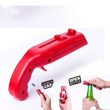 1pcs Can Openers Spring Cap Catapult Launcher Gun shape Bar Tool Drink Opening Shooter Beer Bottle Opener Creative 2019 2 pack cap launcher shooter bottle opener plastic beer openers for home bar party drinking game shoots over 5 meters red and