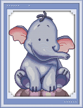 A baby elephant cross stitch animal cartoon stitching 14cr stamped canvas 11ct count fabric embroidery DIY handmade needlework