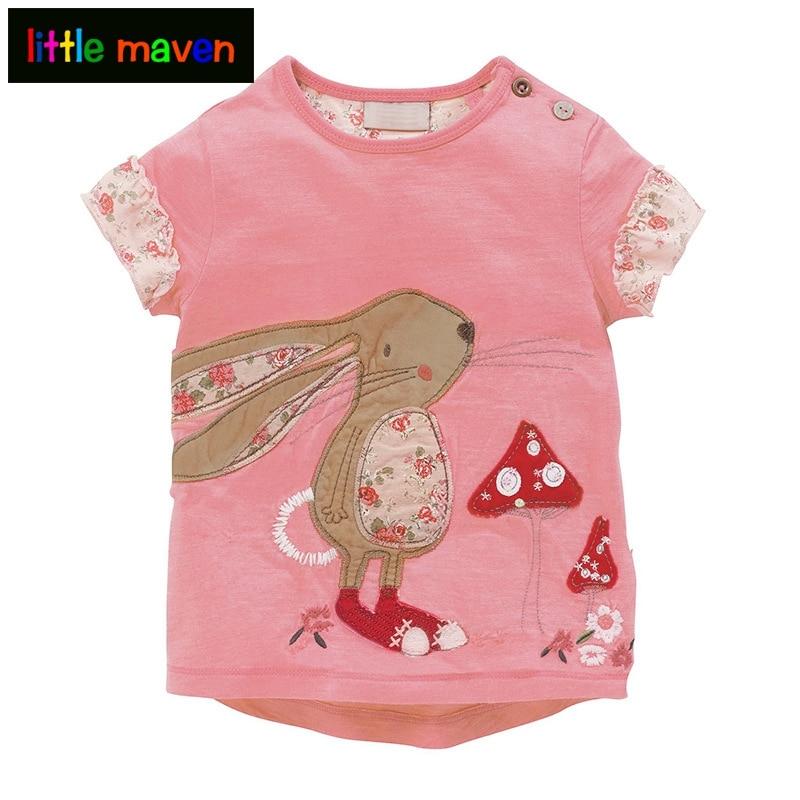 Kis Maven pólók a lányoknak a virágos és a kenguru karakterek javításánál Sleeve Tops Baby Kid Ruházat Todder Infantil Tees 1-6 év