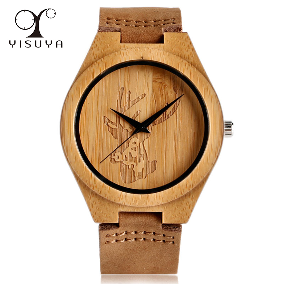 YISUYA Creative Elk Deer Head Wood Watch Leather Strap Men s Quartz Wrist Watch Vintage Style