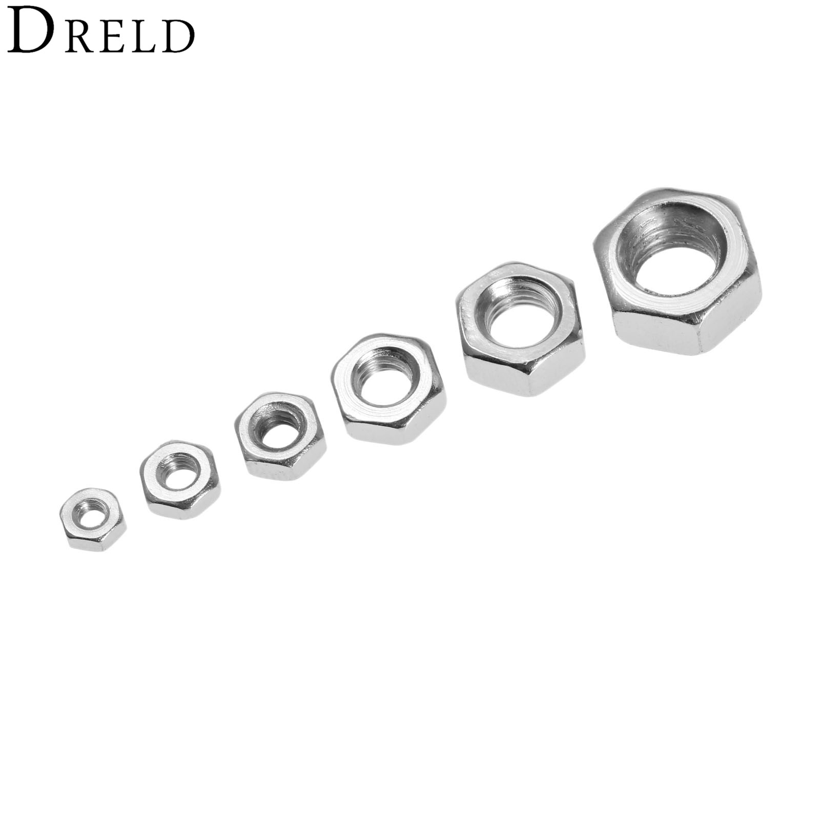DRELD 50Pcs/lot M2/M2.5/M3/M4/M5/M6 Nuts Carbon Steel Metric Thread Hex Nuts Silver Hexagon Nut For Screws Bolts Fasteners 4pcs set hand tap hex shank hss screw spiral point thread metric plug drill bits m3 m4 m5 m6 hand tools