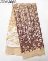 JYN131 Szampana złota wysokiej klasy francuski tulle appliqued koronki tkaniny z cekinami 3D netto Afryki koronki tkaniny na suknie ślubne