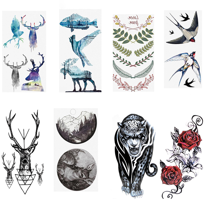 Sale Colorful Cartoon New Tattoo Sticker Animal Sticker Disposable Black Bird Fish Flower Deer Body Art Fake Water Transfer