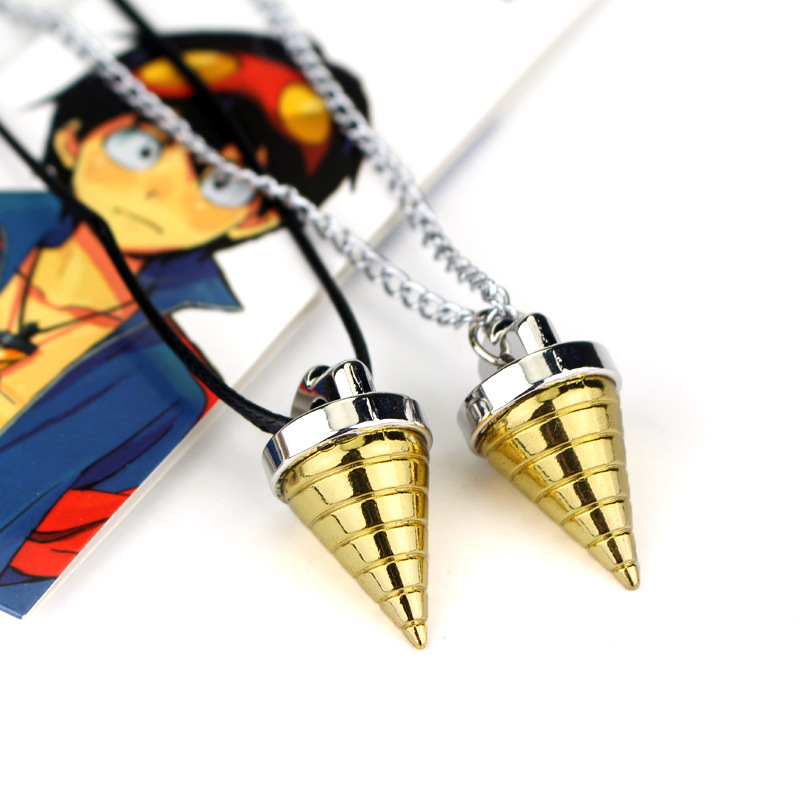 Anime Gurren Lagann Drill Necklace Gold Simon Tengen Gurren Toppa Gulenlagan Tengentoba Kinon Cosplay  Necklaces Pendants Toy