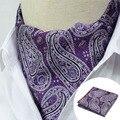 LJT0112 Prata Roxo Paisley Floral Lenço Quadrado Bolso Gravata de Seda Gravata Conjunto Lenço dos homens Lenços Partido Gravata Conjunto Lenço