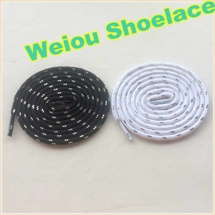 (30 pairs/Lot) Weiou 125cm/49 sport shoe lace charms hiking shoelaces Black white silver color shoestrings kids ropelace
