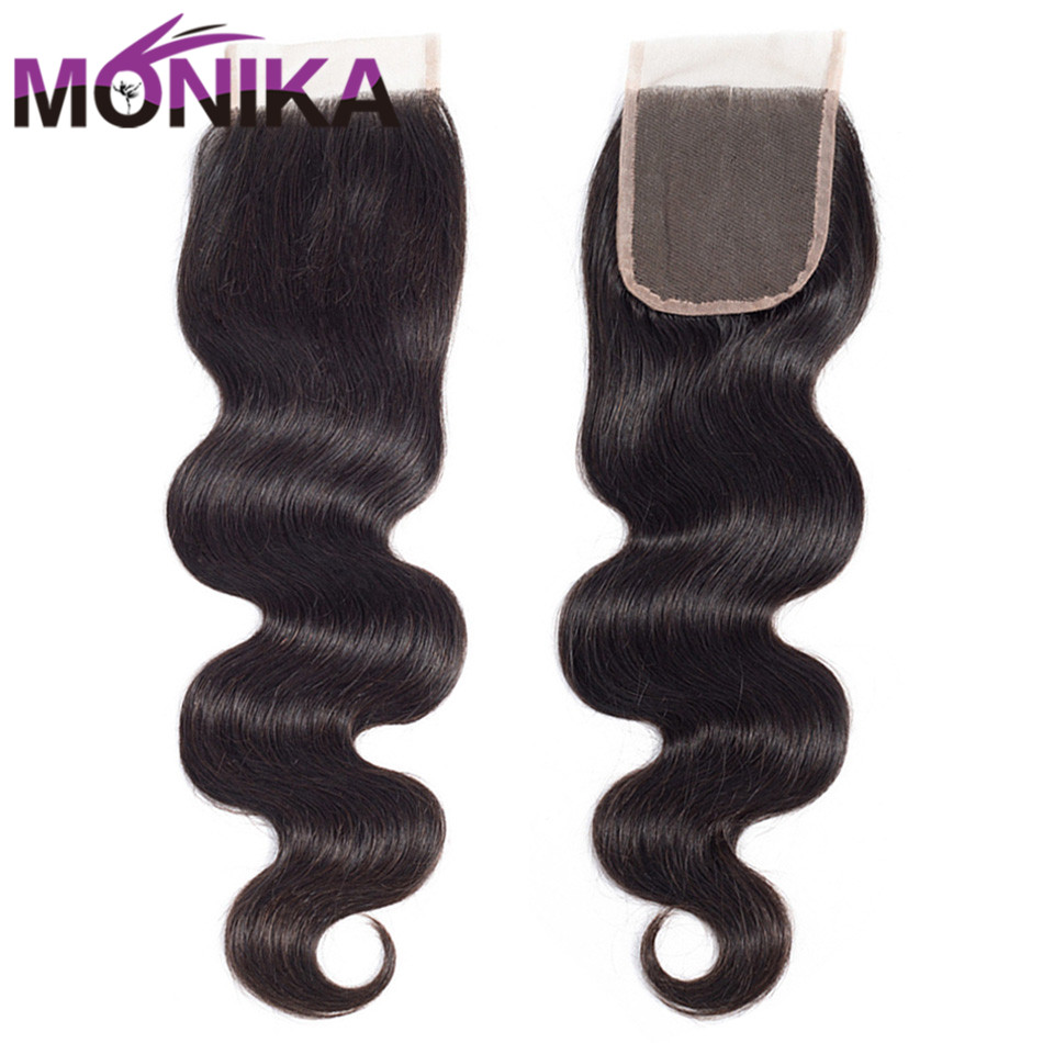 Monika 4x4 Lace Closure Brazilian Body Wave Human Hair Bundles Free Part Middle Part Swiss Closure Natural Color Free Shipping