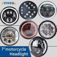 For lada niva 4x4 7Inch Round Led Headlight Halo Ring Angel Eye Projector Headlamp For Jeep Wrangler Black Blue Lamp