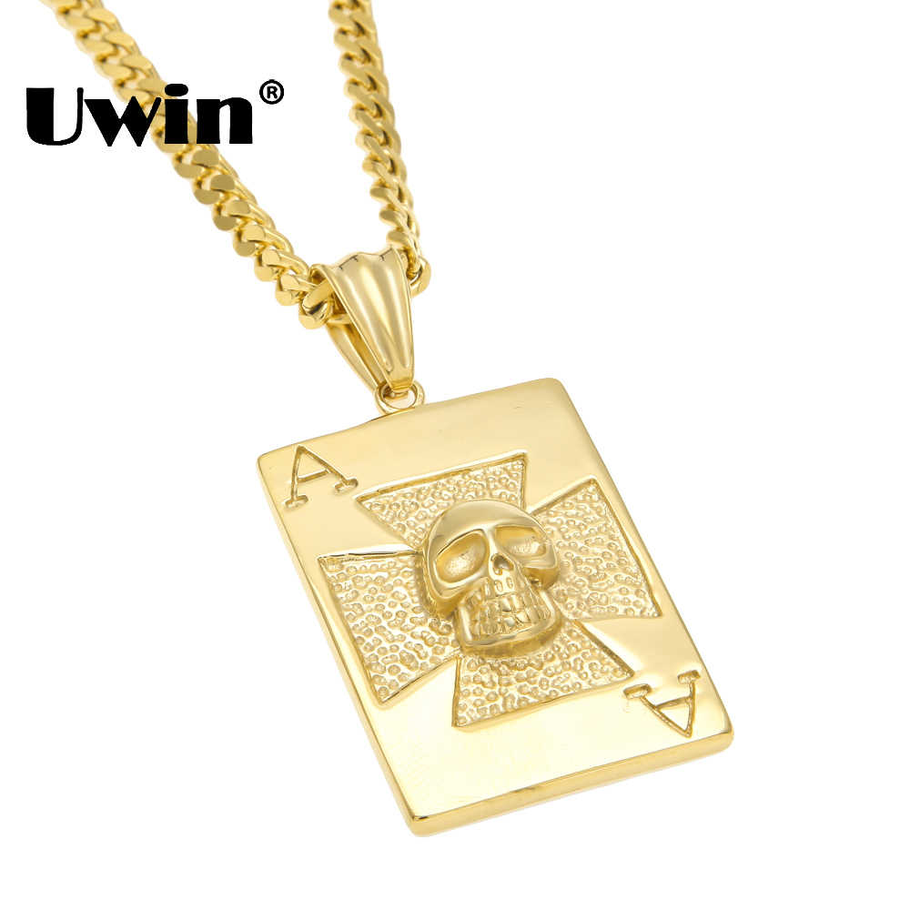 Uwin Vintage Rock Poker Tengkorak Pria/Wanita Liontin Kalung Stainless Steel Fashion Anjing: Kartu Hip Hop Perhiasan Dropshipping