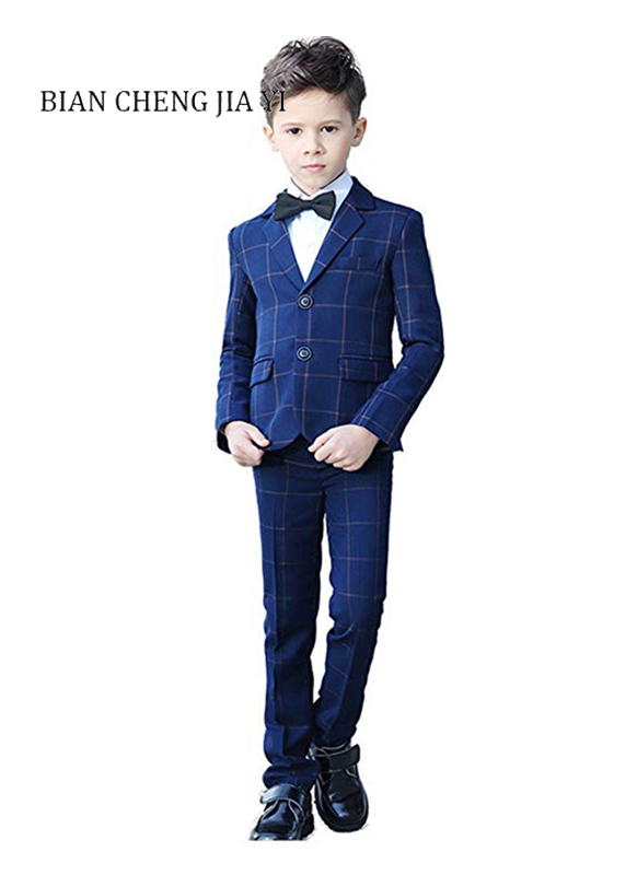 4 Pieces Blue Plaid Boys Suits High quality Wedding Children Suits Tuxedo Dress Party Ring bearer Formal occasions Handsome4 Pieces Blue Plaid Boys Suits High quality Wedding Children Suits Tuxedo Dress Party Ring bearer Formal occasions Handsome