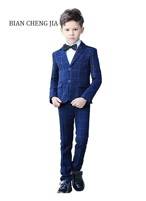 4 pièces bleu Plaid garçon costumes de haute qualité mariage enfants costumes smoking robe fête anneau porteur occasions formelles beau