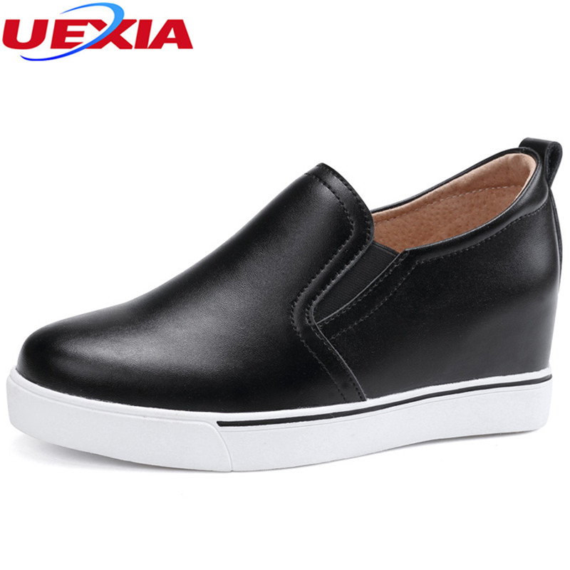 UEXIA 2018 New Women Flat Shoes Platform Female Casual Flats Ladies Shoes Leather Loafers Increase Slip-On Round Toe Handmade new shallow slip on women loafers flats round toe fishermen shoes female good leather lazy flat women casual shoes zapatos mujer