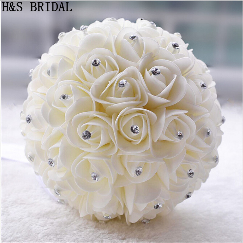 Crystal White Ivory Wedding Bouquet Bridesmaid Artificial Bouquets De Noiva Flower Rose Bridal Mariage In From Weddings