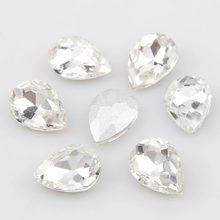 Waterdrop/Teardrop Pointed back Crystal Clear Fancy Stone Glass Rhinestone Stones For DIY Wedding Dress Jewelry Making(China)