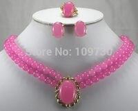 Бесплатная доставка >>@> ювелирные изделия 00837 хороший двумя рядами 8 мм розовый камень ожерелье кулон серьги кольца природных ювелирных изде...