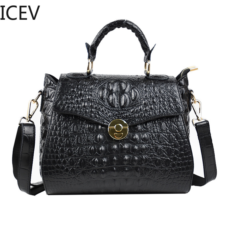 ICEV New Simple Genuine Leather Handbags Ladies Women Leather Handbags Alligator Bags Handbags Women Famous Brands Office Totes цена