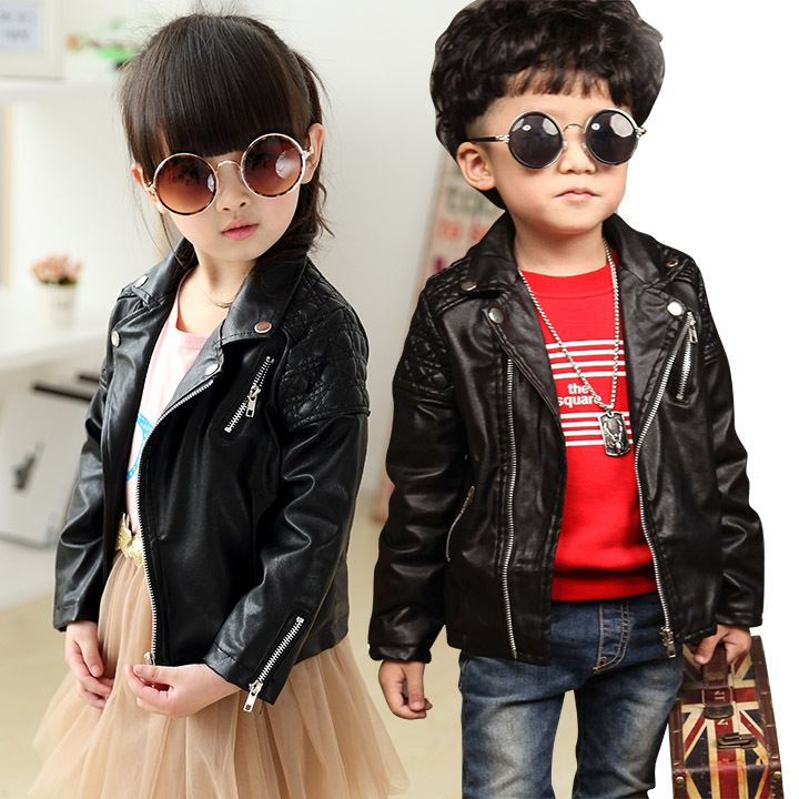 Little Boy And Girls Faux Leather Biker Jacket Kids Pu