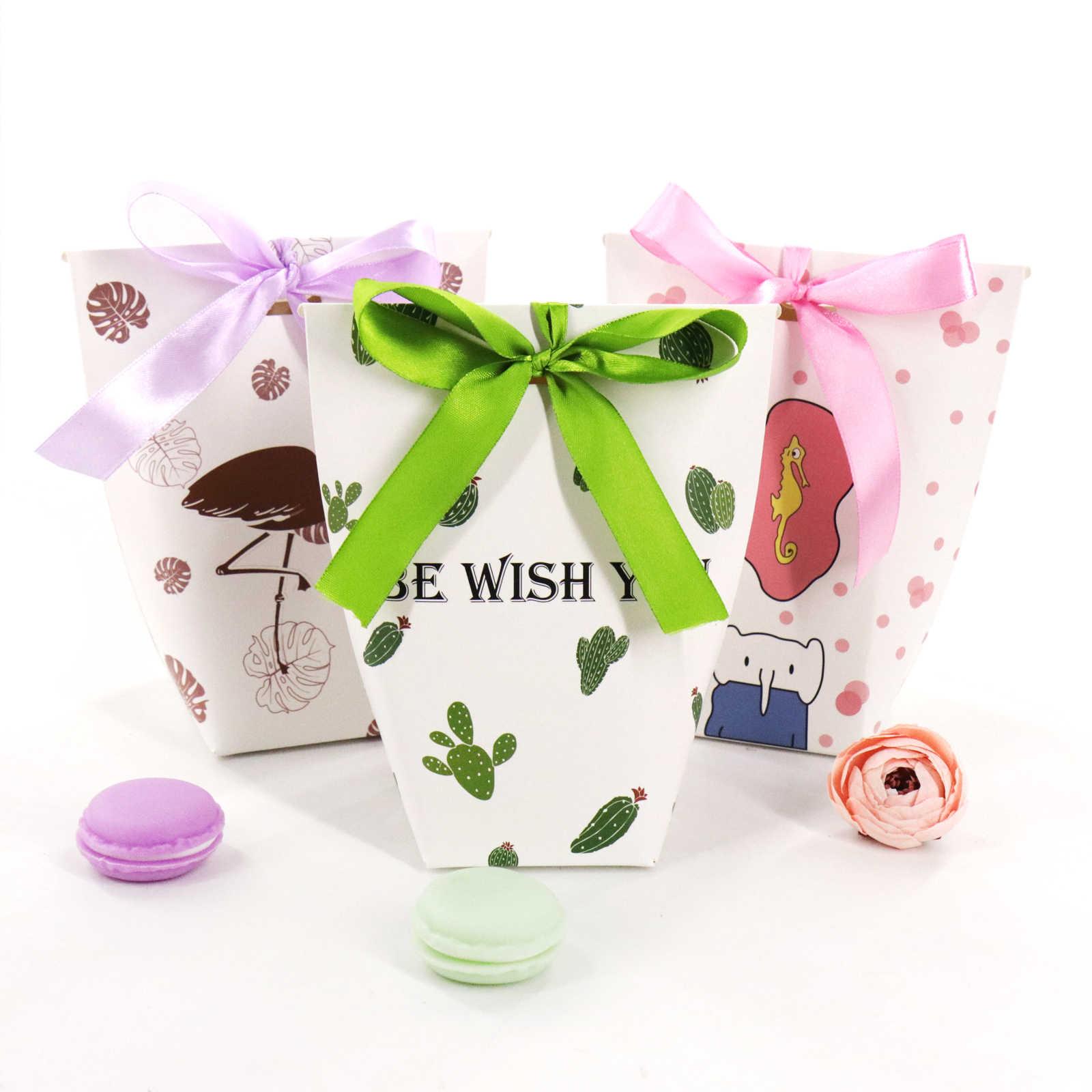 10 шт./партия, европейские Мультяшные Слоны/фламинго, свадебные коробочки для конфет сувенирная Подарочная коробка, бумажная упаковка, конфетный пакет, 16x7x7 см