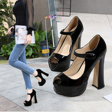 цены Women Pumps Shoes Summer Peep Toe Hoof Heels Buckle Strap Shallow 14cm High Heel 4CM Platform Lady Party Female Shoes Plus Size