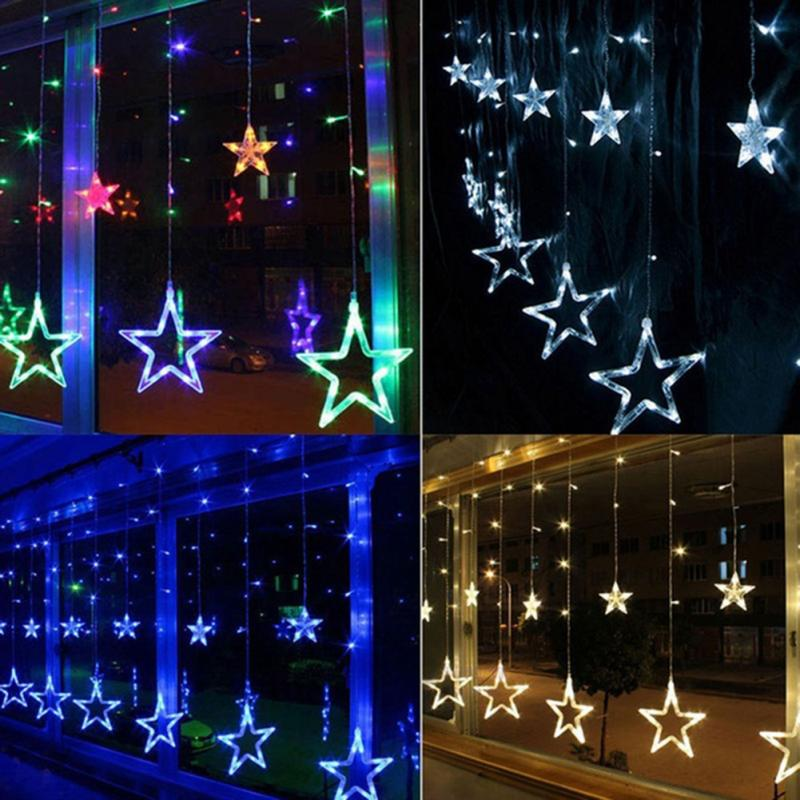2m 220v curtain star string lights christmas new year decoration christmas led lights christmas decorations 5 colors eu plug in glow party supplies from