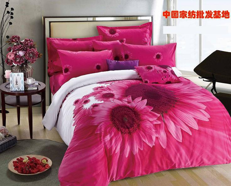 Hot pink sunflower comforter bedding set king size queen comforters     Hot pink sunflower comforter bedding set king size queen comforters sets  duvet cover quilt bed sheet bedspread brushed cotton in Bedding Sets from  Home