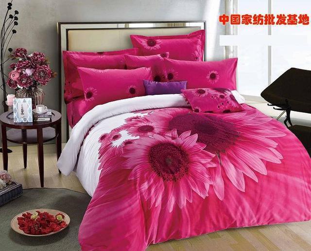 Hot Pink Sunflower Comforter Bedding Set King Size Queen