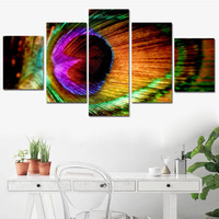 5 Panel Canvas Art Print Posters Colorful Peacock Feather Wall Art Decor Pictures for Living Room Animal Feather Spray Painting