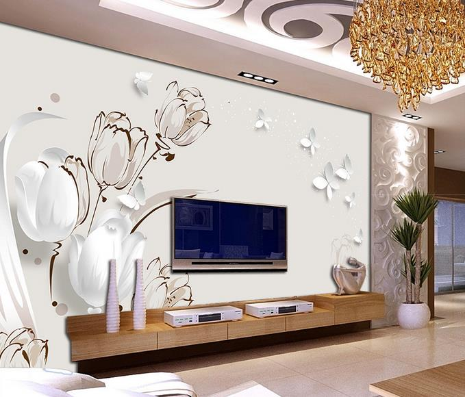 Custom 3d Photo Wallpaper 3d Wall Mural Wallpaper 3d Stereoscopic TV  Backdrop Butterfly Tulip 3d Living Room Wall Decor Part 37