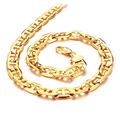 Luxury 18K Real Gold Plated Figaro Chain Necklaces Punk Style 51cm Long Personality Men Jewelry KX439