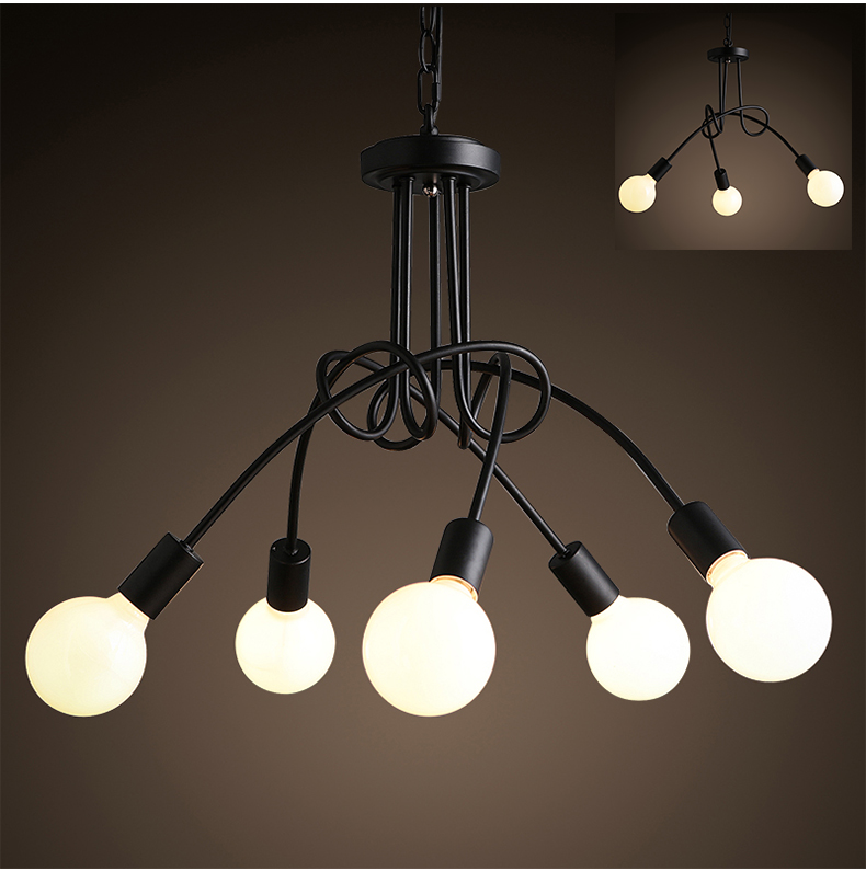 Nordic Wrought Iron Metal Led Pendant Lamp Lights Edison Restaurant Couture Dining Room Cafe Shop Store Pendant Lighting Decor
