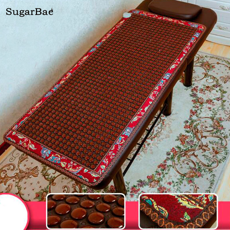 Massage NEW Natural Jade Germanium Tourmaline Stones Infrared Heating Mat + Natural Jade Beauty Massager Mat Size 70cmX160cm 2017 new natural jade germanium tourmaline stones infrared heating mat natural jade facial beauty massage tool jade roller